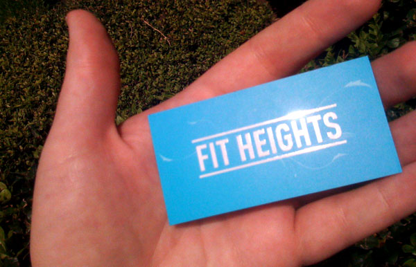 Fit Heights Business Card Back Printed